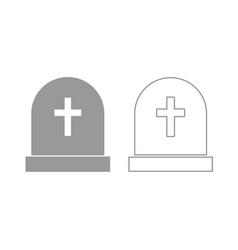 tomb stone icon grey set vector image vector image