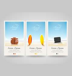 Travel banner set with surf laptop bag vector