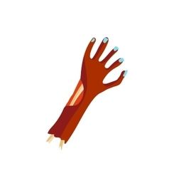 Zombie halloween cartoon death hand with blue claw vector image vector image