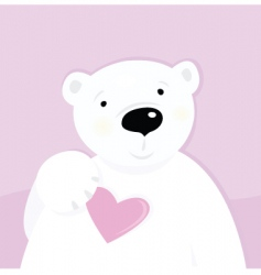 polar bear with love heart vector image