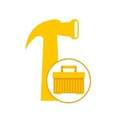 Plastic tool box hammer icon vector
