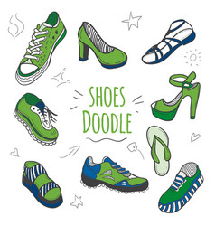 Set of doodle shoes with sneakers vector