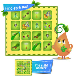 Game find each pair insects vector