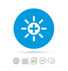 Sun plus sign icon heat symbol brightness vector