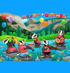 Happy birthday card with funny badgers playing vector