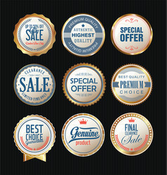 Quality badges and labels retro collection vector