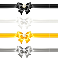 Silk bows black and gold with diamonds and ribbons vector image