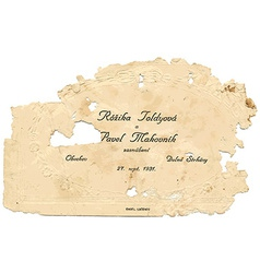 Old paper wedding card vector