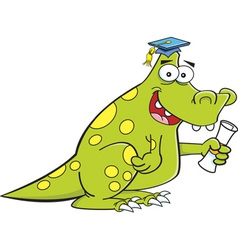 Cartoon dinosaur holding a diploma vector