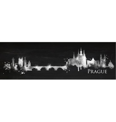 Silhouette chalk Prague vector image