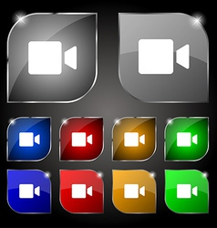 Video camera icon sign set of ten colorful buttons vector