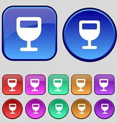 Wine glass alcohol drink icon sign a set of twelve vector