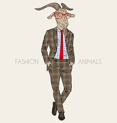 Fashion of goat in business suit vector