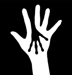 Human and alien hands silhouette on white vector
