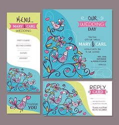 Set of cute wedding cards vector