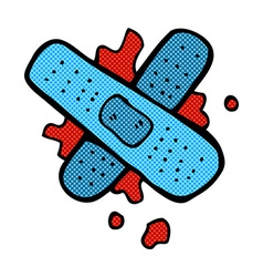 Comic cartoon bloody medical plaster vector