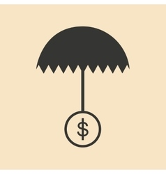 Flat in black white umbrella and dollar vector