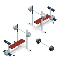 Gym adjustable weight bench with barbell isolated vector