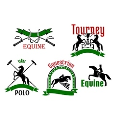 Equestrian tournament polo or equine club symbol vector