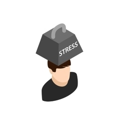 Man with weight of stress icon isometric 3d style vector