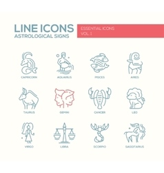 Zodiac signs icons set vector