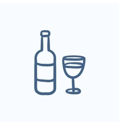 Bottle of wine sketch icon vector