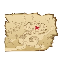 Map in wild west style with village and cemetery vector