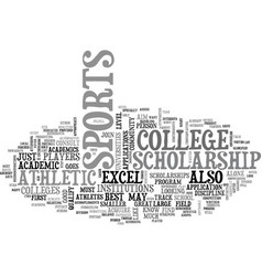 Athletic college scholarship text word cloud vector