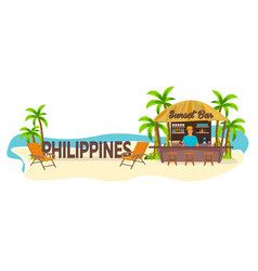 Beach bar philippines travel palm drink vector