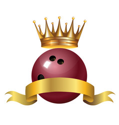 bowling king champion symbol with a golden crown vector image vector image