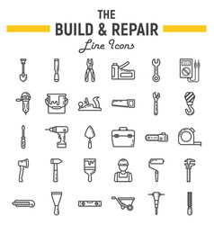 build and repair line icon set construction signs vector image vector image