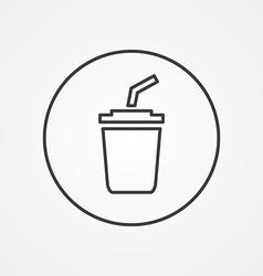 Coffee outline symbol dark on white background vector