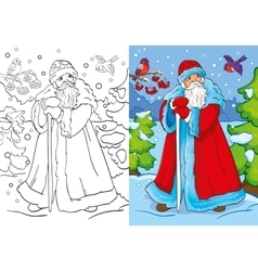 Coloring book of father frost walking in forest vector