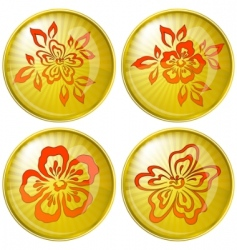 flowers buttons vector image vector image