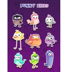 Funny cartoon style bird stickers vector image