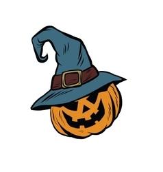 Funny halloween pumpkin hat pilgrim vector