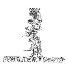 Goblins art in the t shape design vintage vector