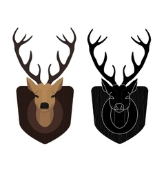 Hunting trophy Stuffed taxidermy deer head Color vector image