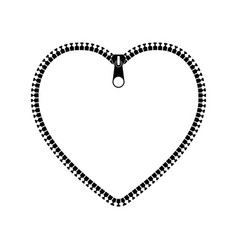 Icon heart with zipper vector