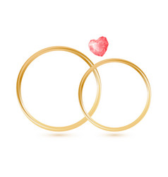 isolted wedding gold rings with gemstone heart vector image vector image