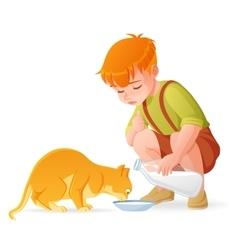 Little cute redhead boy feeding his cat with milk vector image