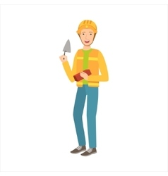 Man construction worker with trowel and brick vector