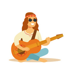 Man hippie dressed in classic woodstock sixties vector
