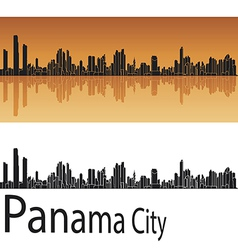 Panama City skyline in orange background vector image
