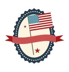 seal stamp with usa flag inside and ribbon vector image