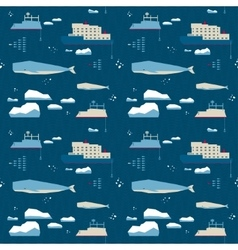 Seamless pattern whale and icebreaker vector