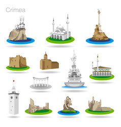 set of color crimea icons drawing vector image vector image