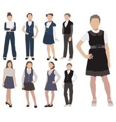 set of pupils silhouette in school uniform vector image