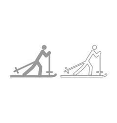 Skier icon grey set vector