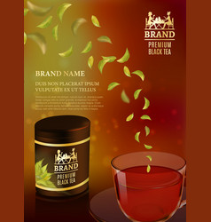 Tea advertising flyer poster or banner template vector